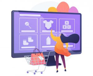 woman picking products on a marketplace