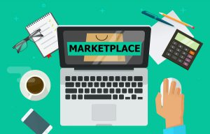 laptop with a marketplace open
